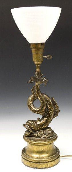 79: Brass Dolphin Lamp