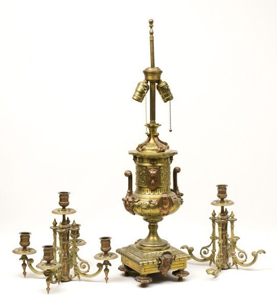 83: 19th C Aesthetic Candelabra Brass