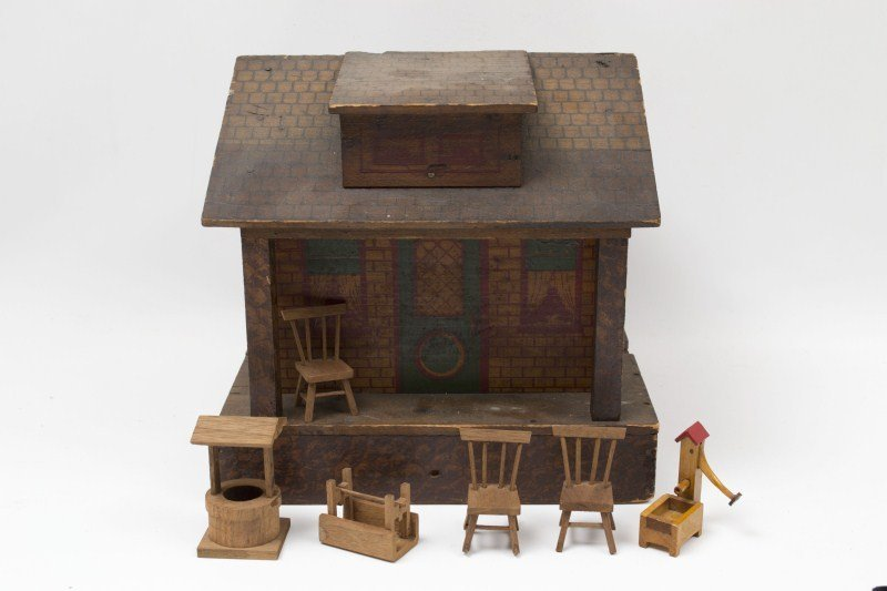 90: 19th C Wooden Doll House and Furniture