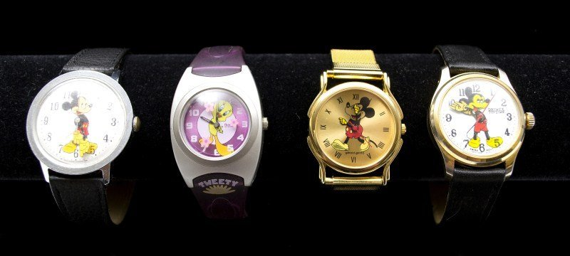 536: Three Vintage Mickey Mouse Wrist Watches & a Warne