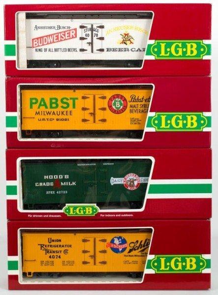 13: Four LBG Box Cars, LGB 4074 Z 02, LGB 42723, LGB 4