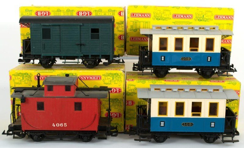 14: Four Early LGB Cars 4065, two 3012, and 3019