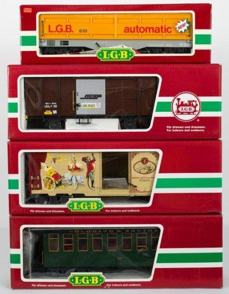 15: Four LGB Cars and Coach, LGB 41610, 49910, 46810,