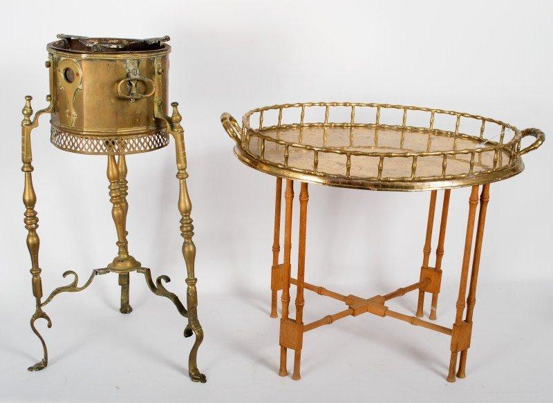 349: Oval Brass Tray & Asian Brassier
