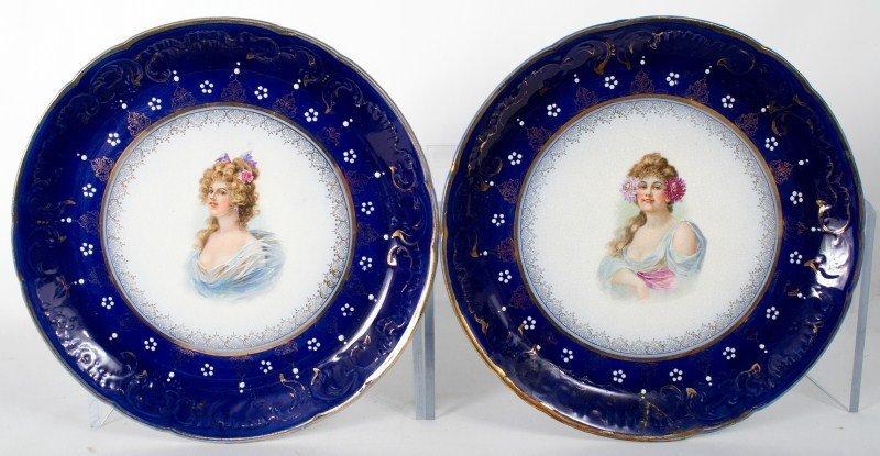 358: Pair of Royal La Belle Portrait Charger