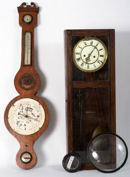 362: Arts and Crafts Clock, 19th C Barometer