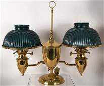 541: Victorian Brass Double Student Lamp