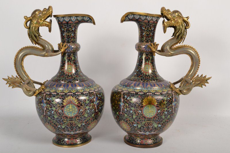 859G: Pair of Chinese Cloisonné Ewers w/Dragon Handle