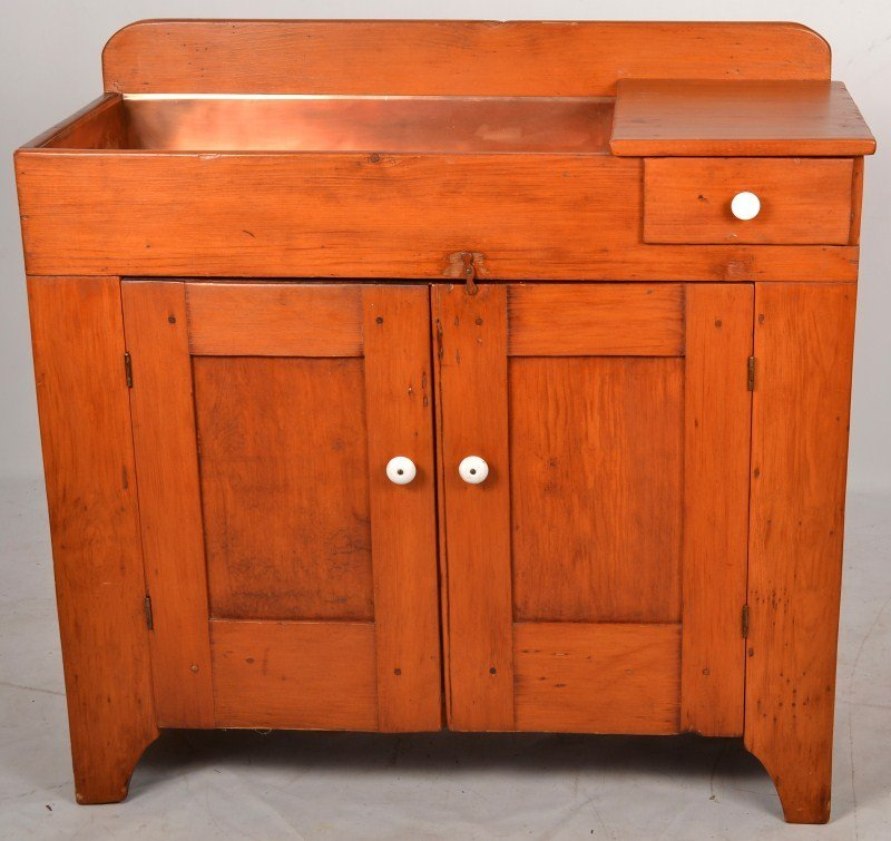1058: Late 19th C Dry Sink with Copper Insert
