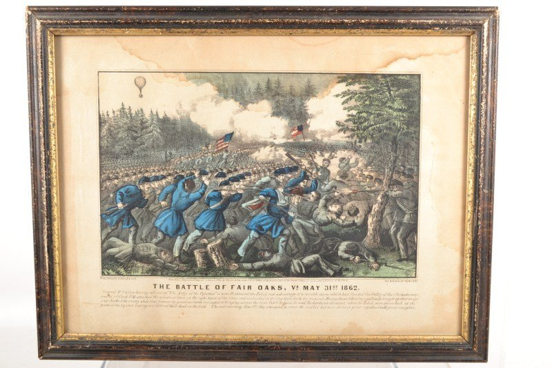 The Battle Of Fair Oaks Currier & Ives Colored Lithogra
