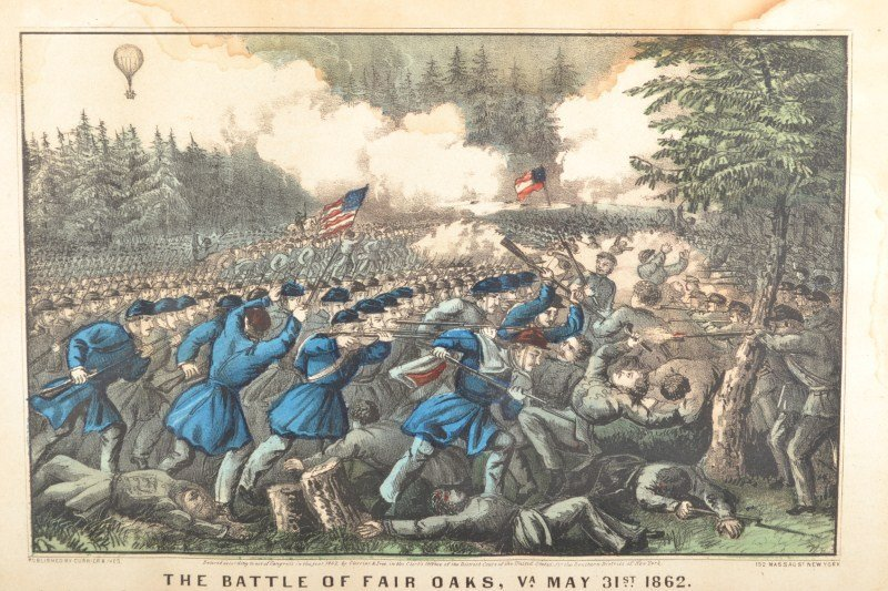 The Battle Of Fair Oaks Currier & Ives Colored Lithogra - 2