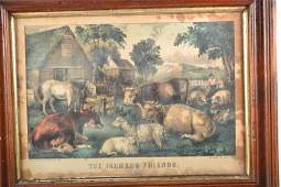 Three Medium Folio Currier and Ives Hand Colored Lithog
