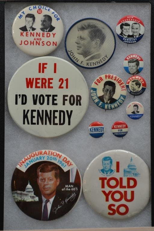 Twelve John Kennedy 10 Campaign Buttons from 1960