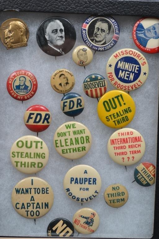 Franklin Roosevelt Brass Jugate Pin, Ten Campaign