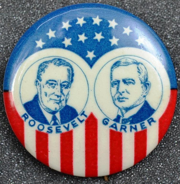 Roosevelt and Garner Jugate Campaign Button - Near