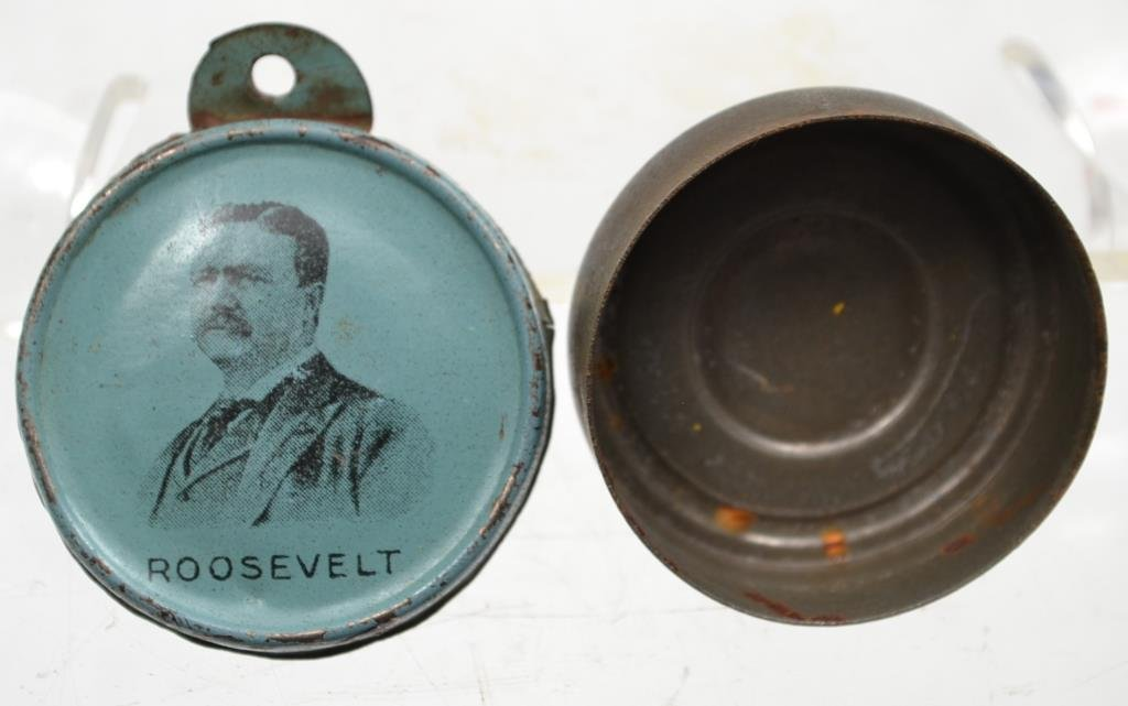 Roosevelt Rare and Unusual Small Tin Container C 1