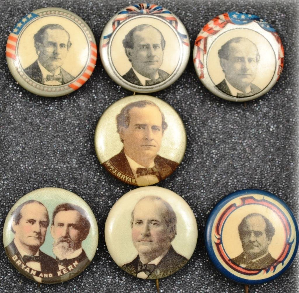 Seven William Jennings Bryan Campaign Buttons From