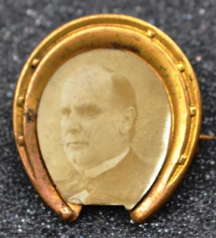 McKinley 1896 Figural Horseshoe Pin With Real Phot