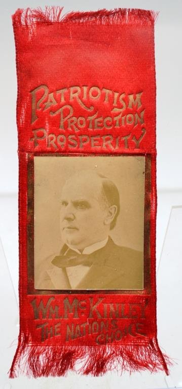 McKinley 1896 Campaign Ribbon With Large Real Phot