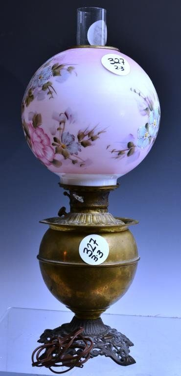 Brass Victorian Oil Lamp With Painted Milk Glass S