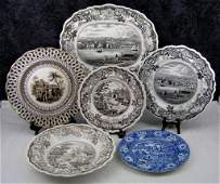 6 Pc. Lot Antique Historical Staffordshire Transfe