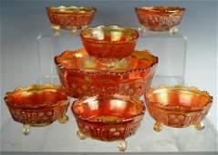 Imperial Marigold Carnival Glass Fruit Bowl set