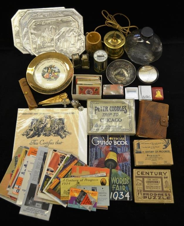 Grouping of 1933 Chicago Worlds Fair Souvenirs