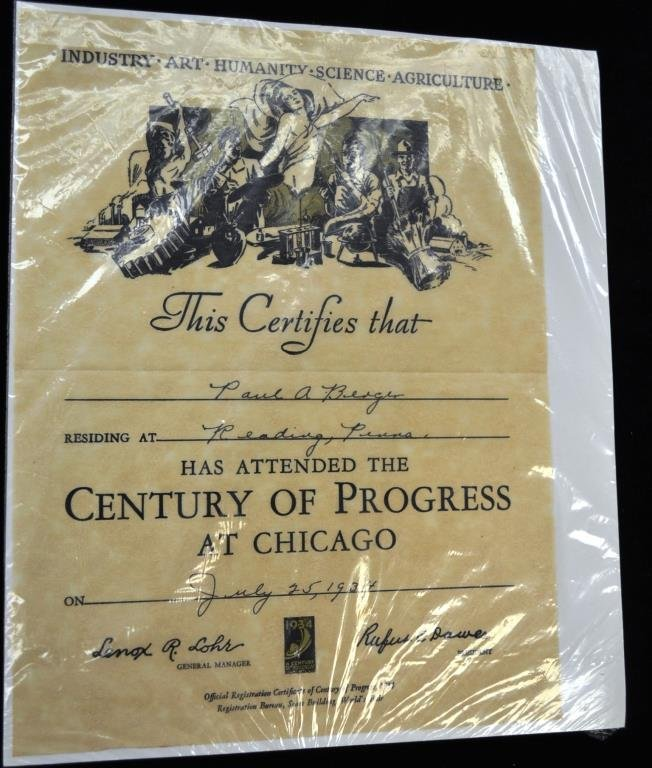 Grouping of 1933 Chicago Worlds Fair Souvenirs - 2
