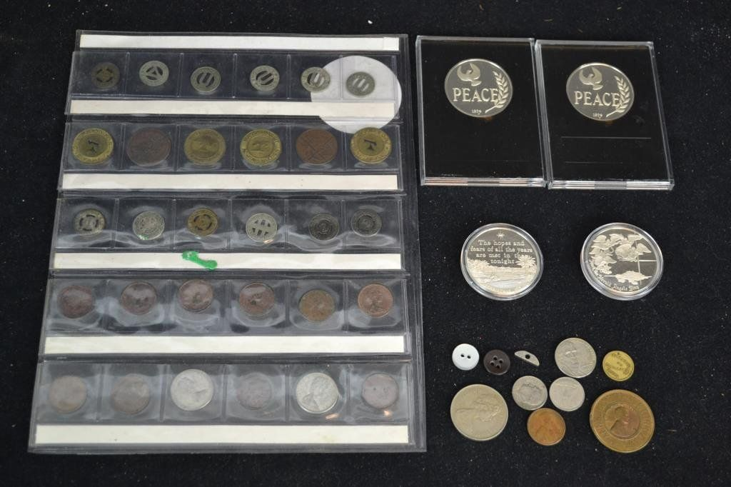Grouping of American and Other Coins and Tokens