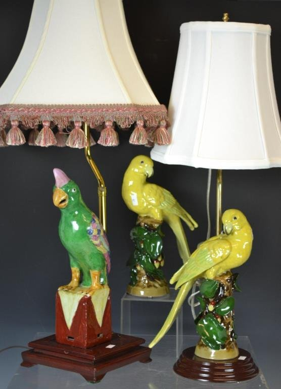 Pair of Jeanne Reed's Parrot Lamps