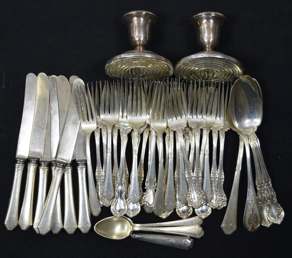 Sterling Silver Flatware, Carving Tools, and Candl