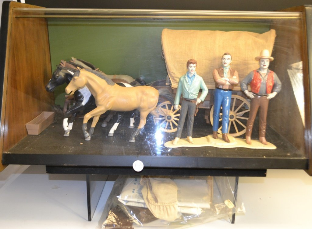 Bonanza Wagon and Figures in Display Case
