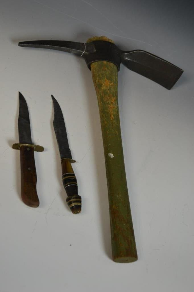 US Pick Axe, With Two WWII Era Knives