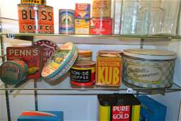 Country Store Early Assorted Tins Of Food Items