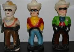 Three Chalkware Lone Ranger Carnival Prizes