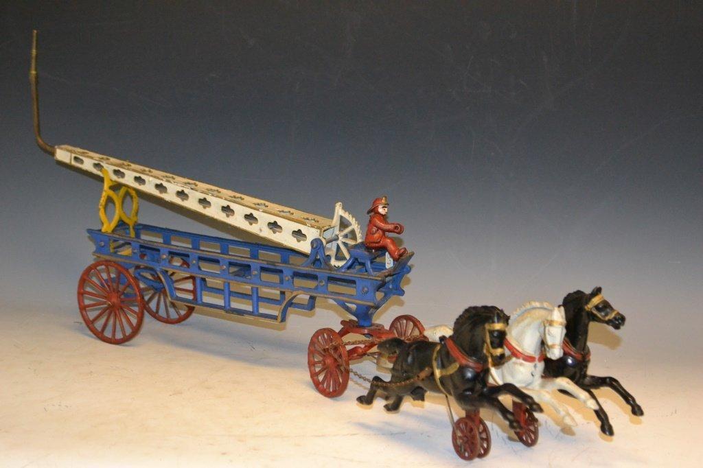 Hubley Cast Iron 3 Horse Draw Fire ladder c. 1900'