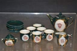 Fifteen Piece German Porcelain Child's Tea Service