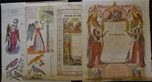 Four 19th C Fracturs/ Baptism Certificates
