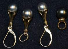 14K Black Tahitian Pearl Earring & Pendant Set
