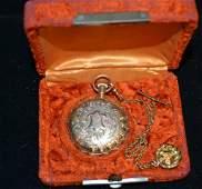 14K Gold Hampton Ladies Hunt Case Pocket Watch