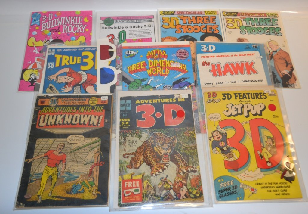 Grouping of Ten 10 3D Comics