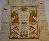 Collection of 18th and 19thC Deeds and Fraktur