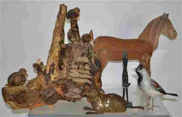 Grouping of Folk Art Animals
