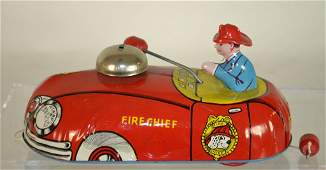 Metal Fire Chief Pull Toy