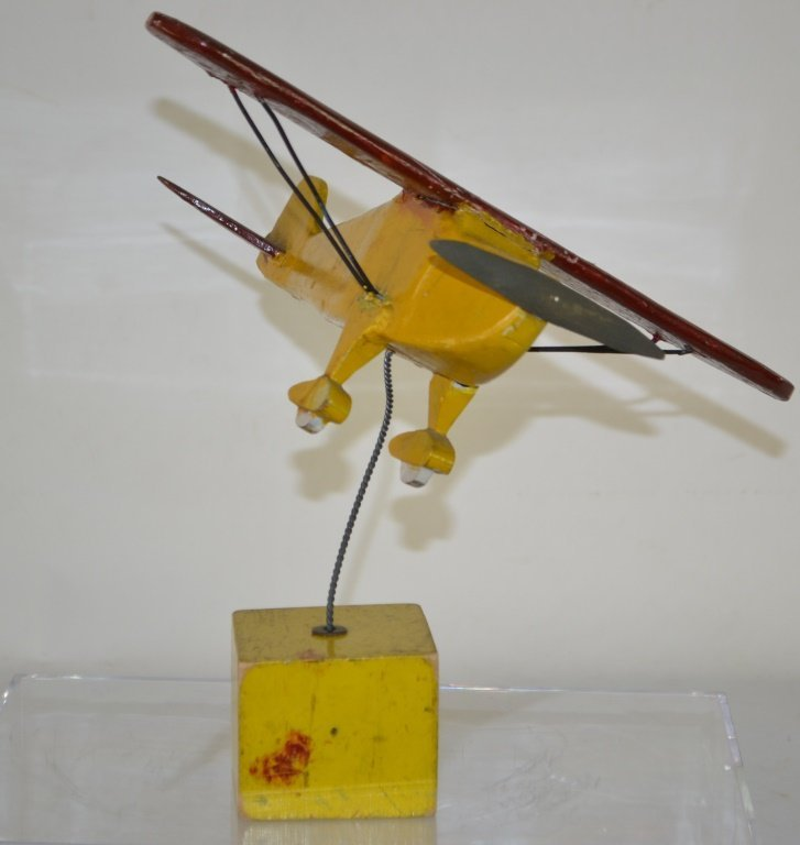 Early Wood Toy Air Plane Mounted on Block