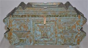 Painted Tramp Art Sewing Box w/ Mirrored Top