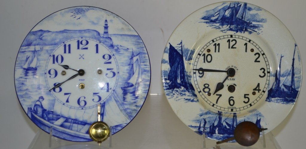 Two Early Porcelain Hanging Wall Clocks