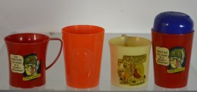 Three Captain Midnight Ovaltine Cups & Another