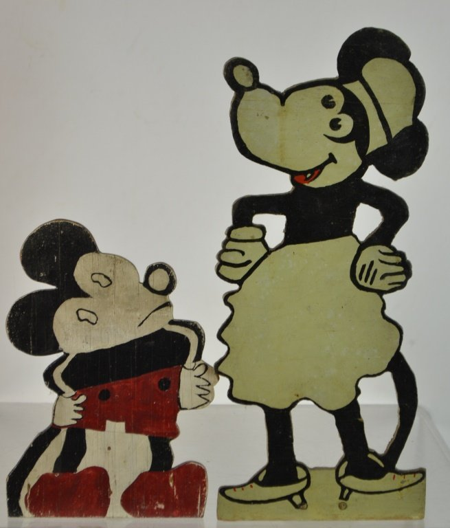 Two Early Wooden Hand Painted Early Mickey & Minni