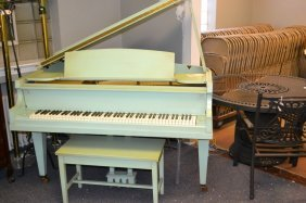 Baby Grand Piano Painted Green With Stool